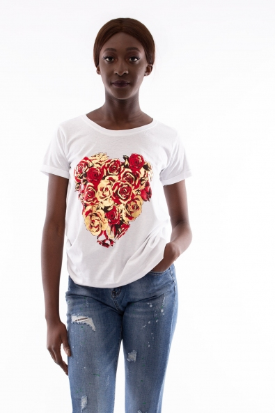 T SHIRT CUORE ROSE